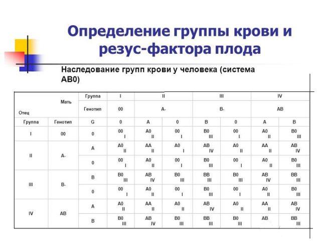 Таблица определения группы крови плода