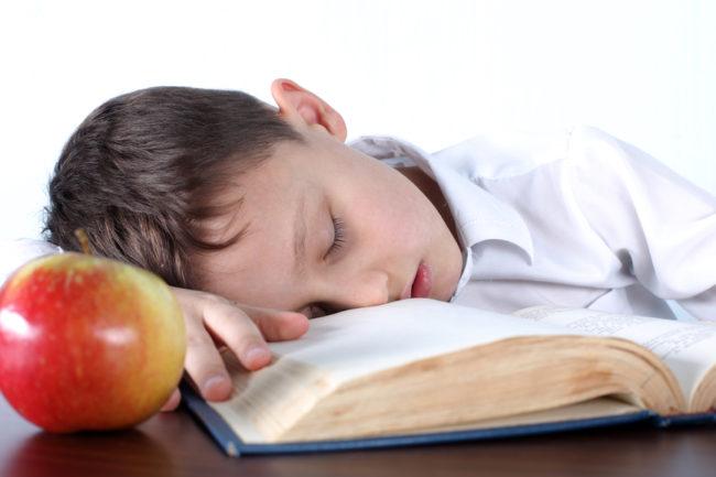 Мальчик уснул перед книгой