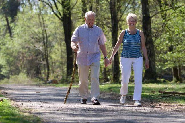 Пожилая пара гуляет